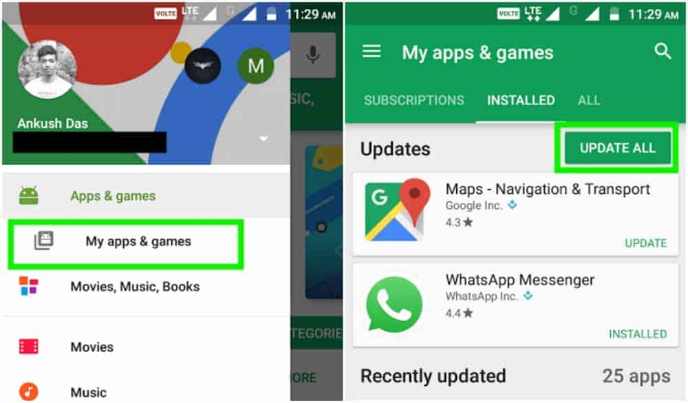 how to update apps on android
