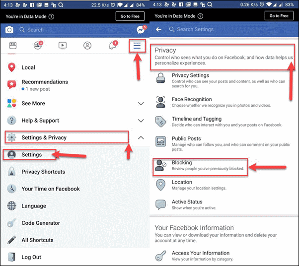 How to unblock someone on Facebook on Android device